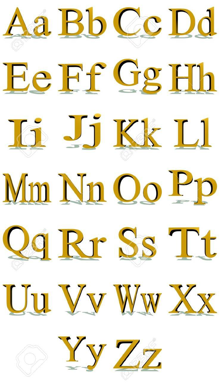 3D Times New Roman Gold Alphabet With Shadows In A White Background Stock Photo