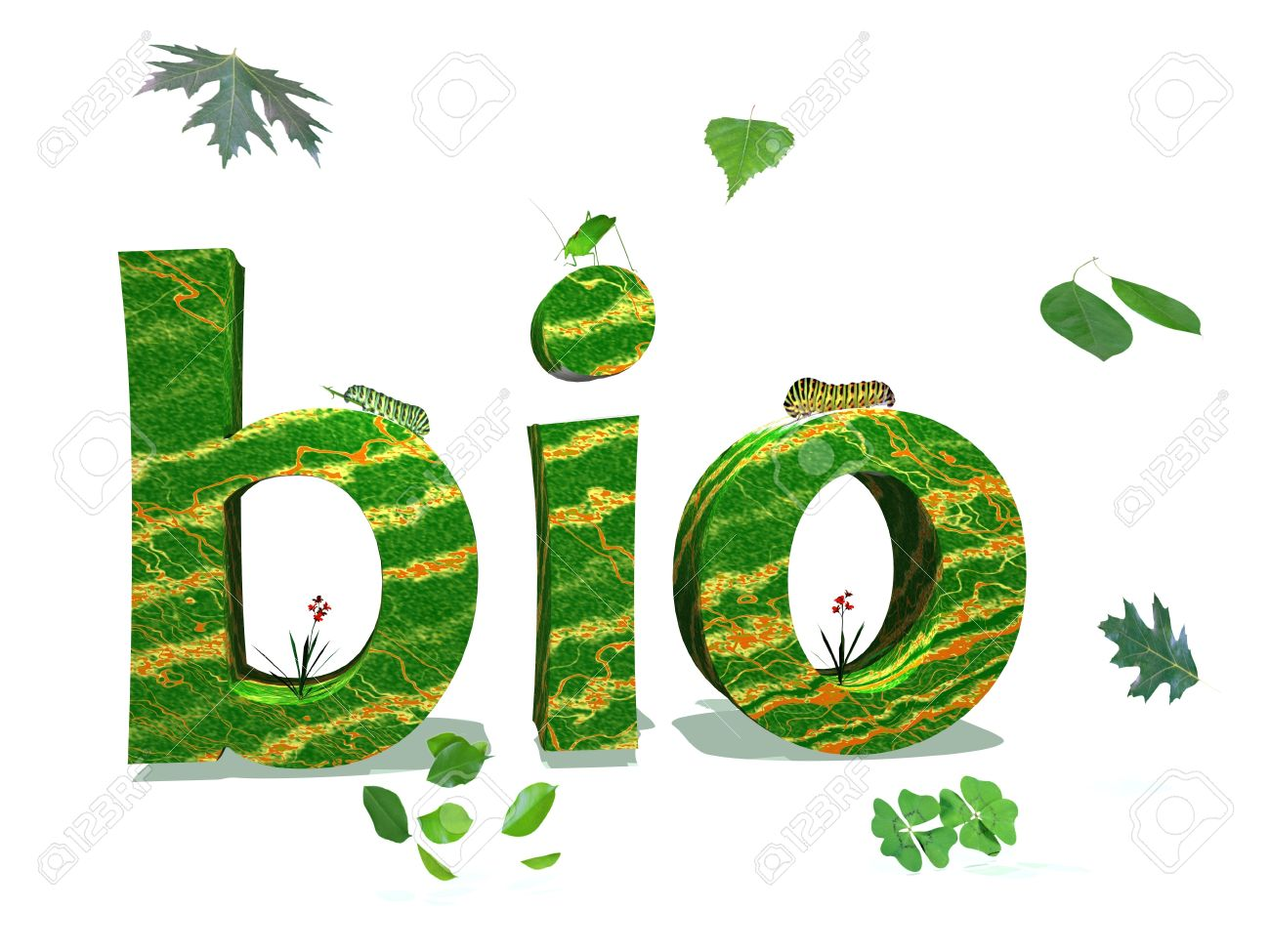 Bio letters in nature color surrounded by green leaves and insects in white background Stock Photo - 9662202