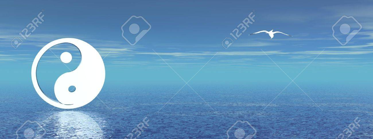 White yin and yang symbol and a seagull in a blue background with ocean Stock Photo - 9750467