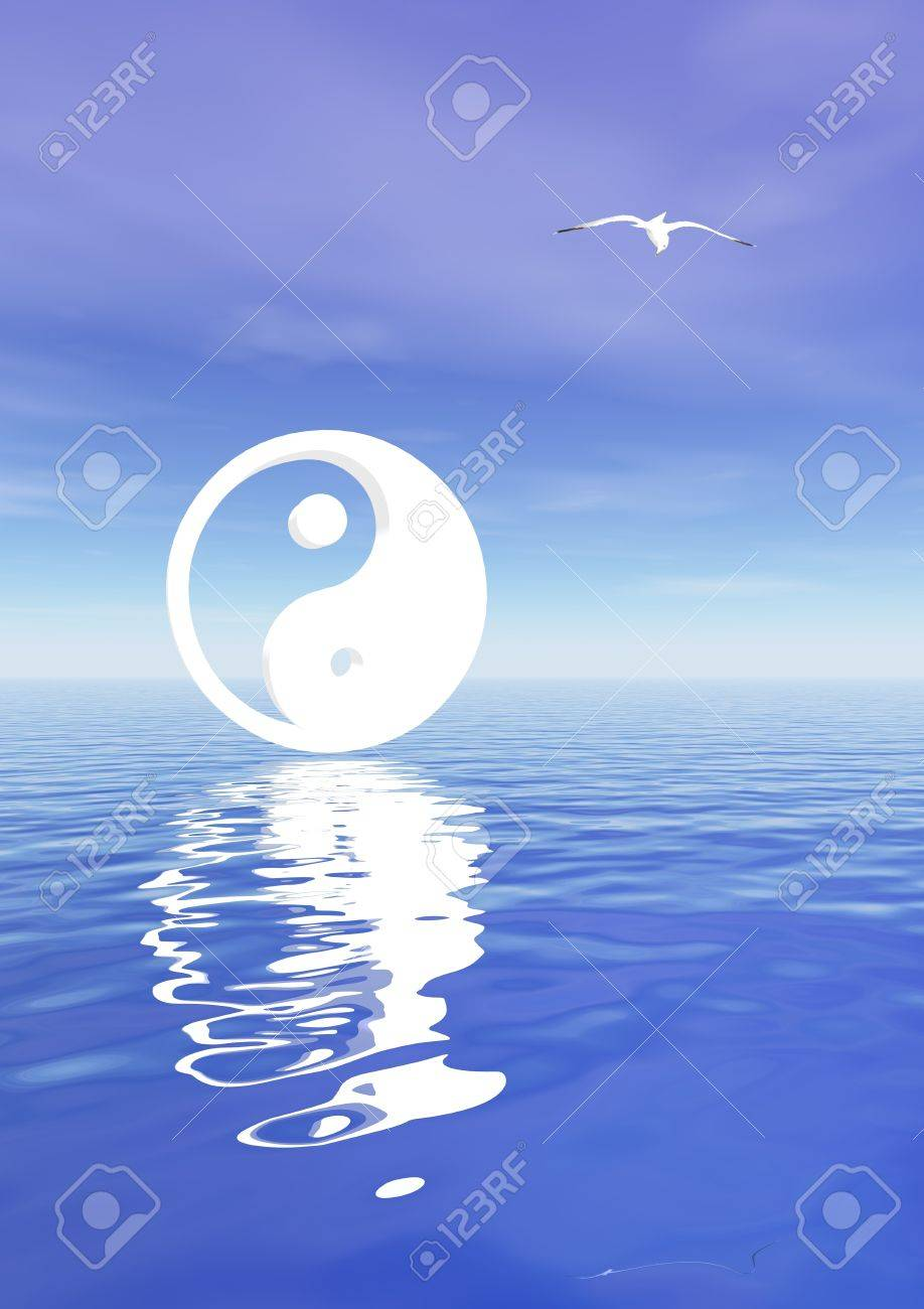 White yin and yang symbol and a seagull in a blue background with ocean Stock Photo - 9832155