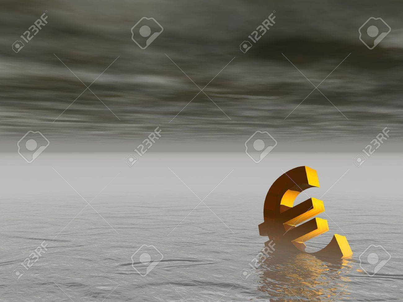 Golden euro drowning in the grey sea by stormy weather - 10163592