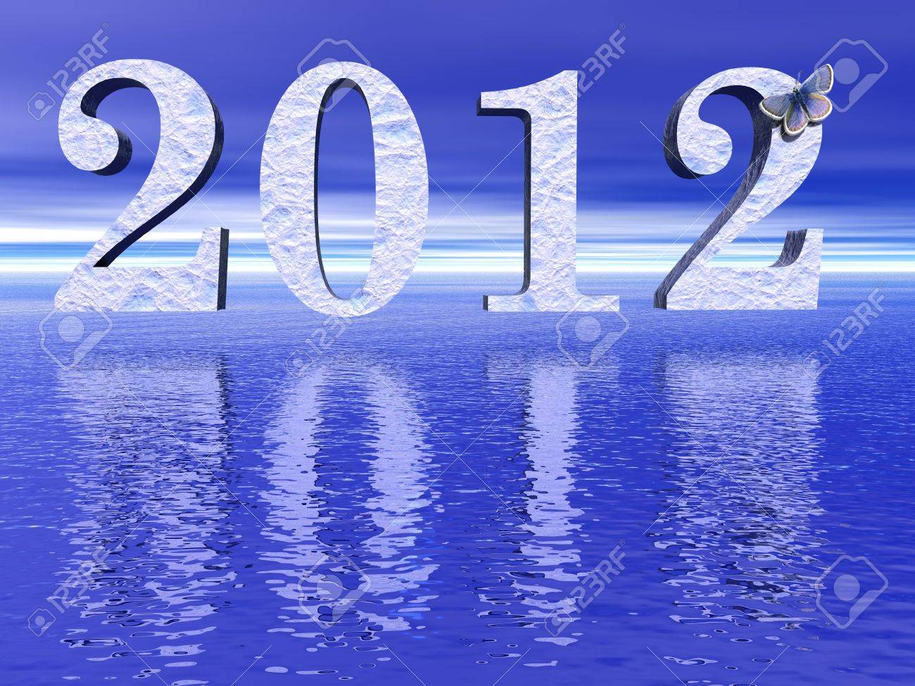 Icy 2012 upon blue ocean and with little butterfly Stock Photo - 10478364