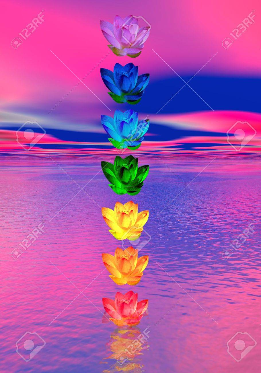 Chakra Colors Of Lily Flower In A Column Upon Ocean In Pink And