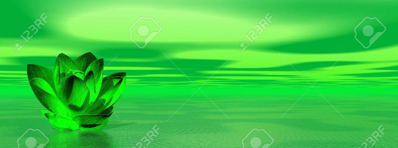 Verde flor de lis en el océano para simbolizar cuarto chakra