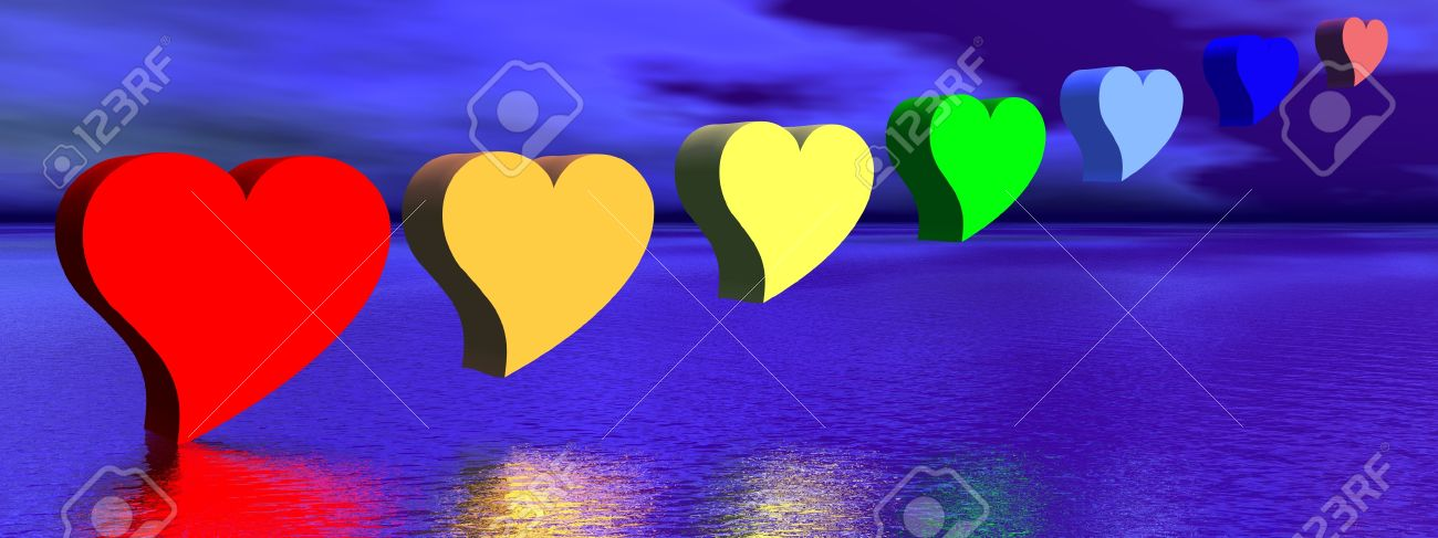 Heart for each color chakra upon water by night Stock Photo - 12270157