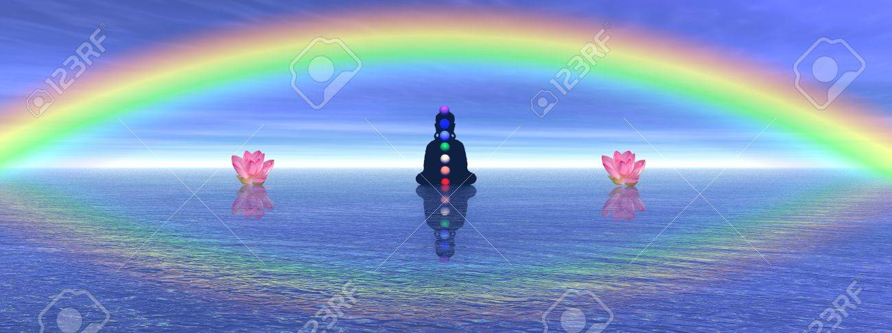 Shadow in meditation with chakras next to two waterlilies, on the ocean and under a big beautiful rainbow Stock Photo - 12270171
