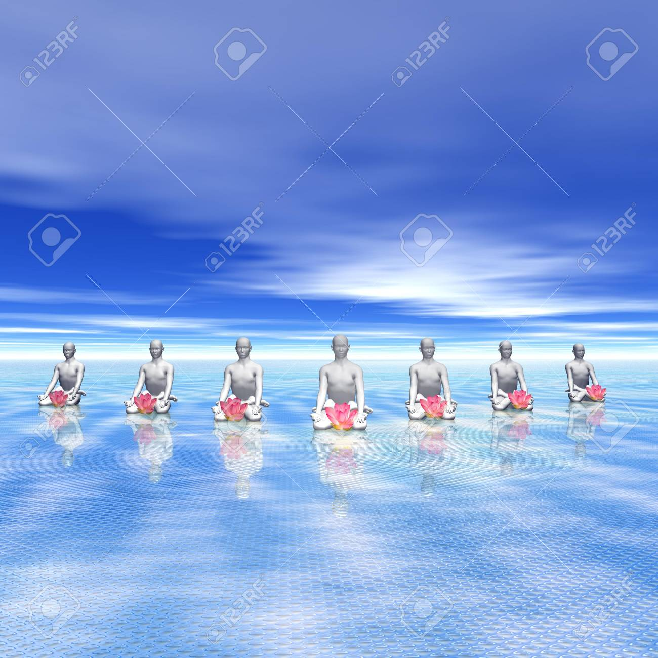 Meditating men in front of a pink lily flower in blue background Stock Photo - 12619135