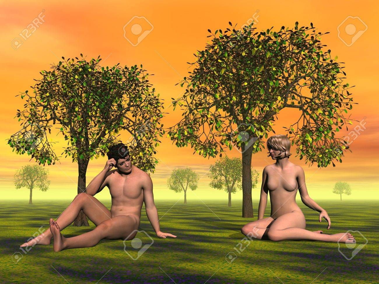 Naked Adam and Eve sitting on the grass in Eden garden by orange sunset Stock Photo - 12619577