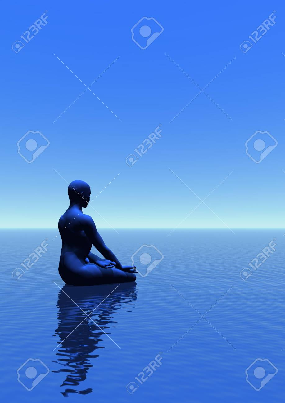 Man meditating upon the ocean in blue empty background Stock Photo - 12619493