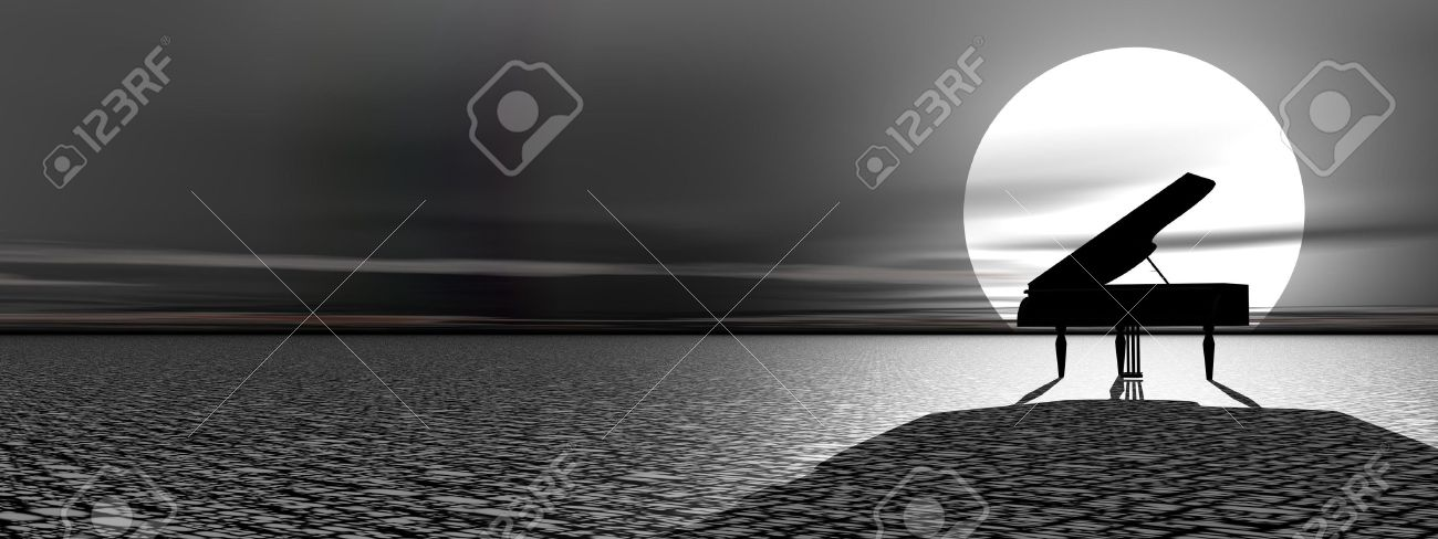 Piano standing alone in the nature by beautiful moonlight Stock Photo - 12619468