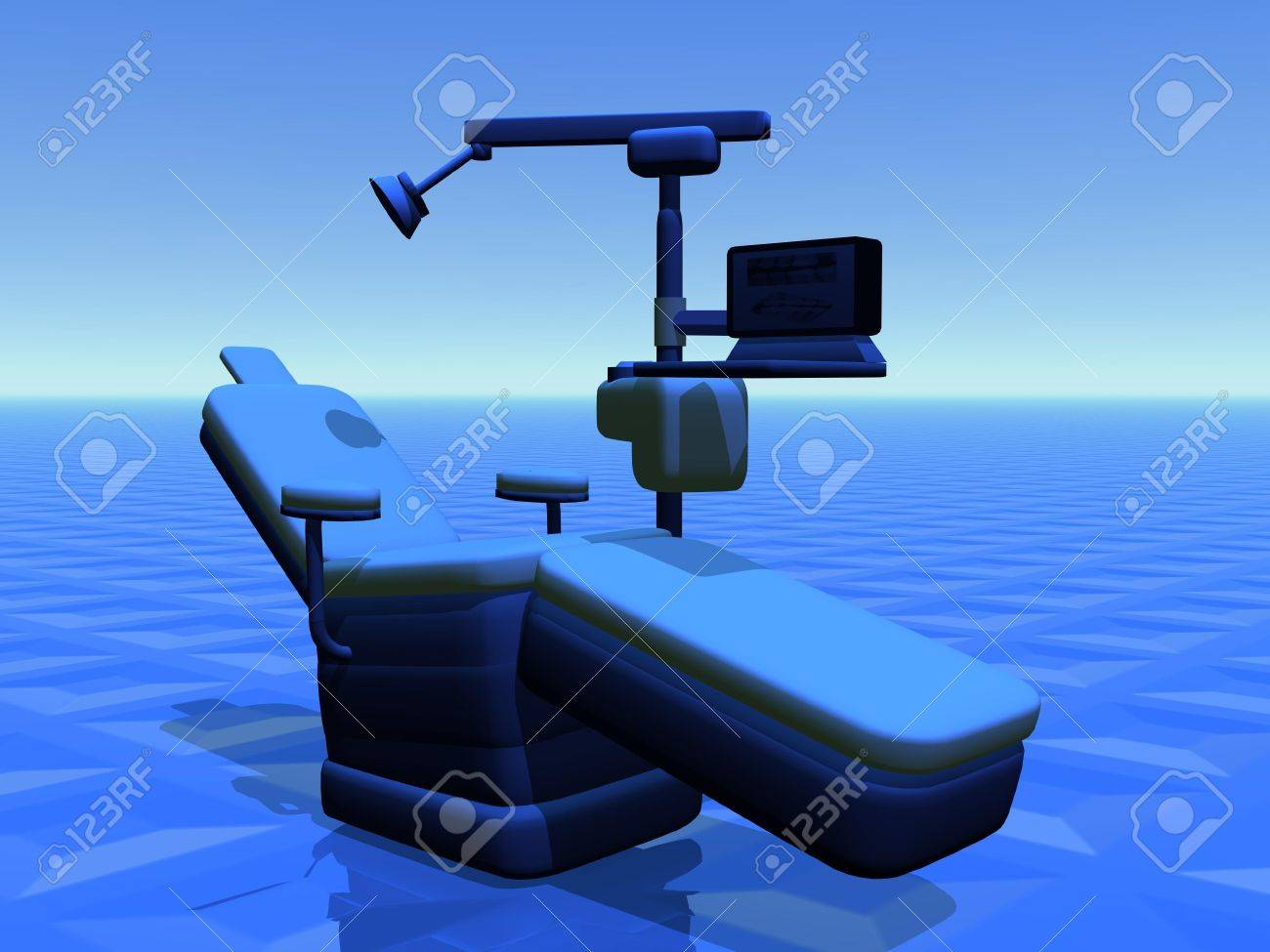 One modern dental chair in blue background Stock Photo - 13115537