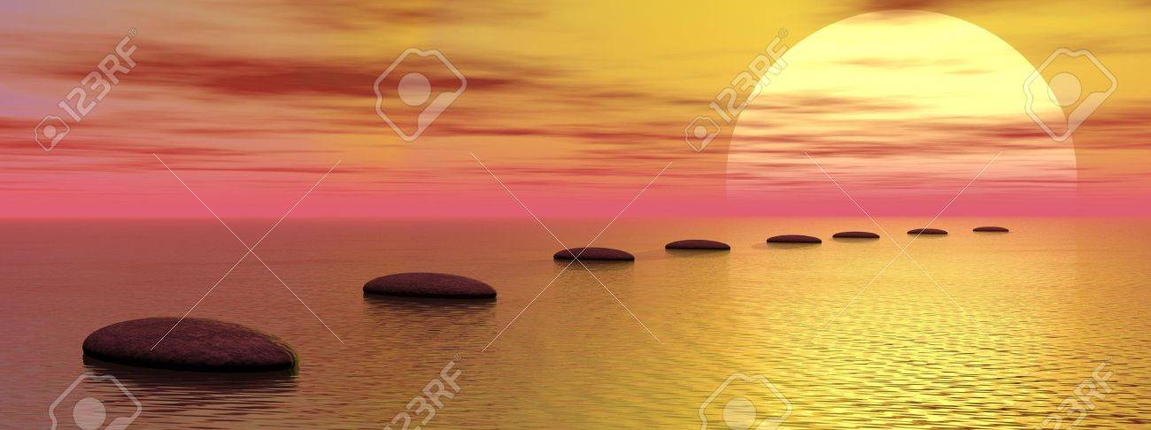 Grey stones steps upon the ocean going to the sun by cloudy sunset Stock Photo - 13323239