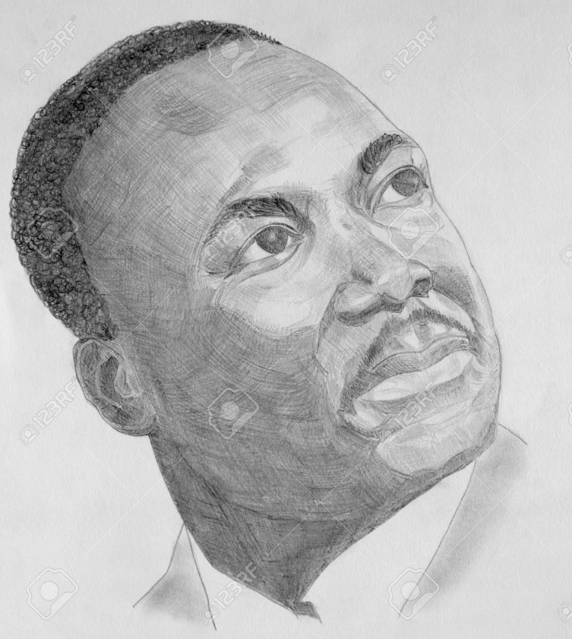 Drawing Of Martin Luther King With Grey Pencils Stock Photo Picture