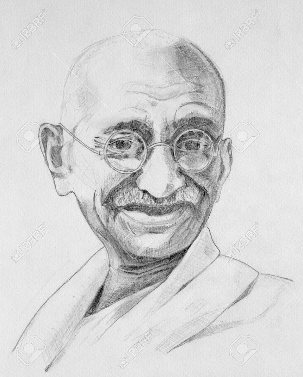 Drawing of mahatma gandhi with grey pencils stock photo 14939056