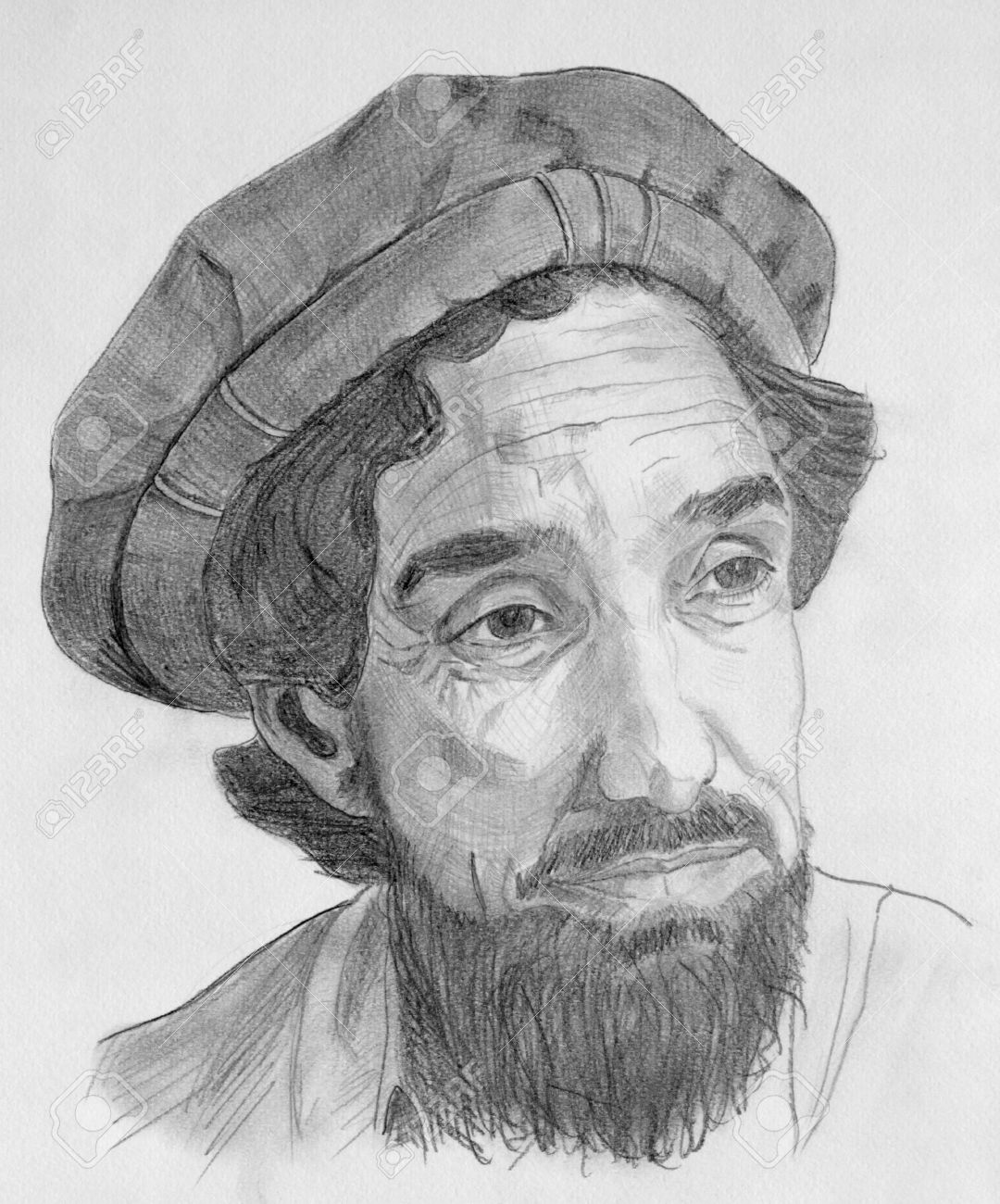 Drawing of Ahmed Shah Massoud commandant with grey pencils Stock Photo - 14939055