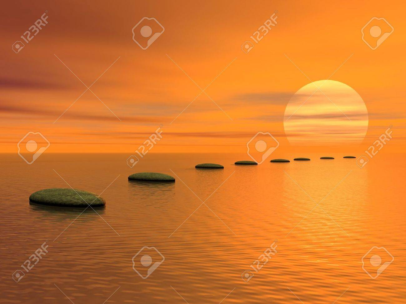 Grey stones steps upon the ocean going to the sun by cloudy sunset Stock Photo - 15062095