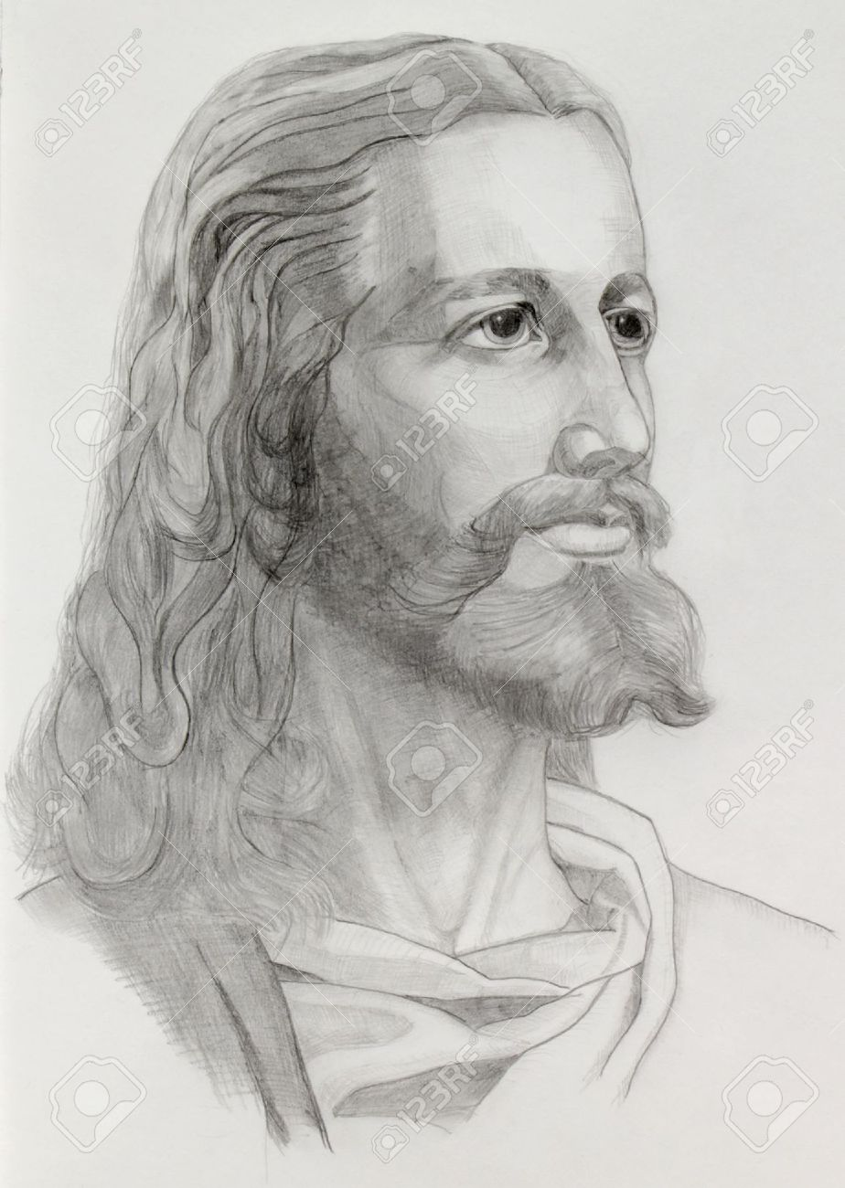 Grey pencils drawing of jesus stock photo 15399836