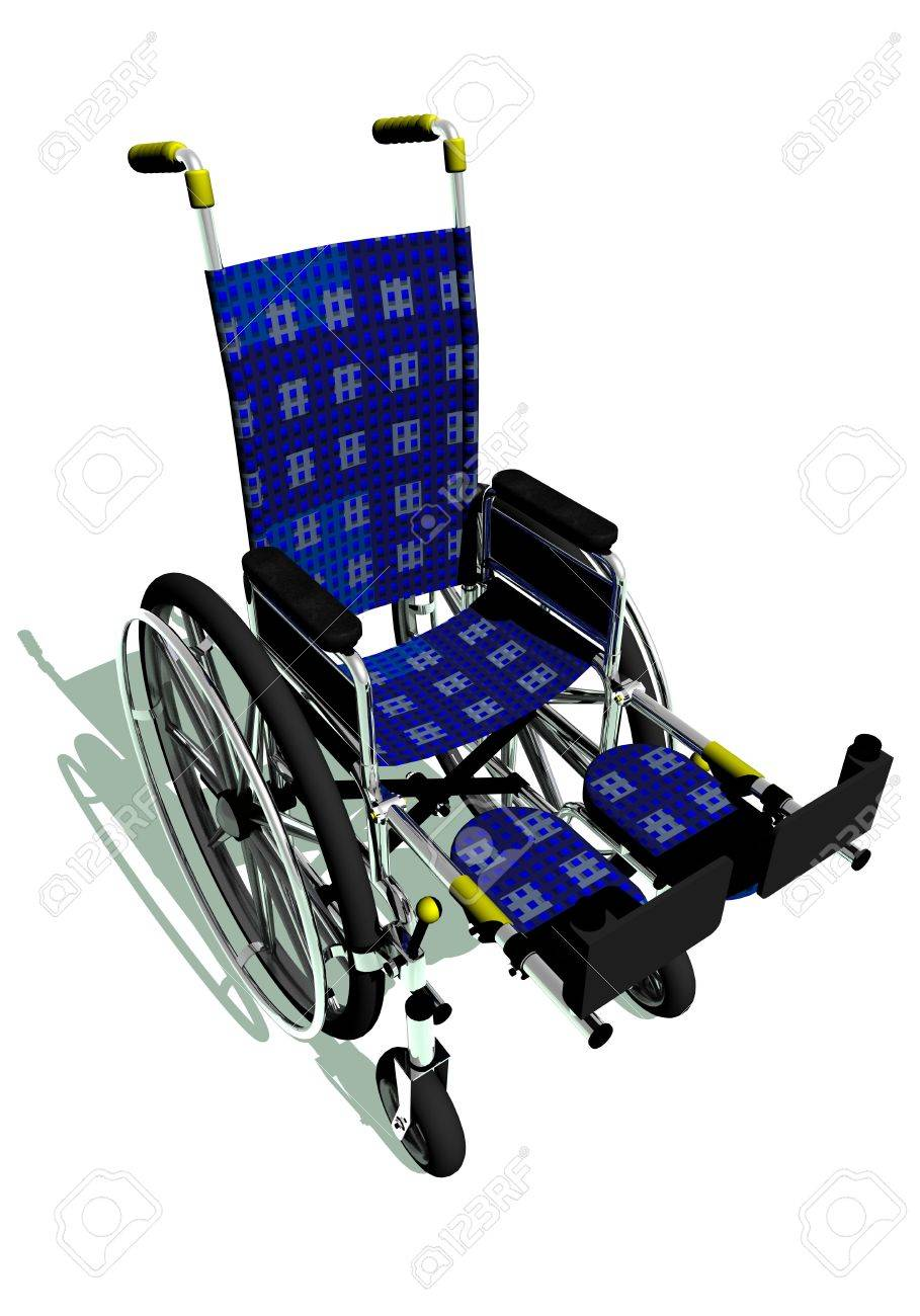 Blue wheelchair in white background Stock Photo - 15483769