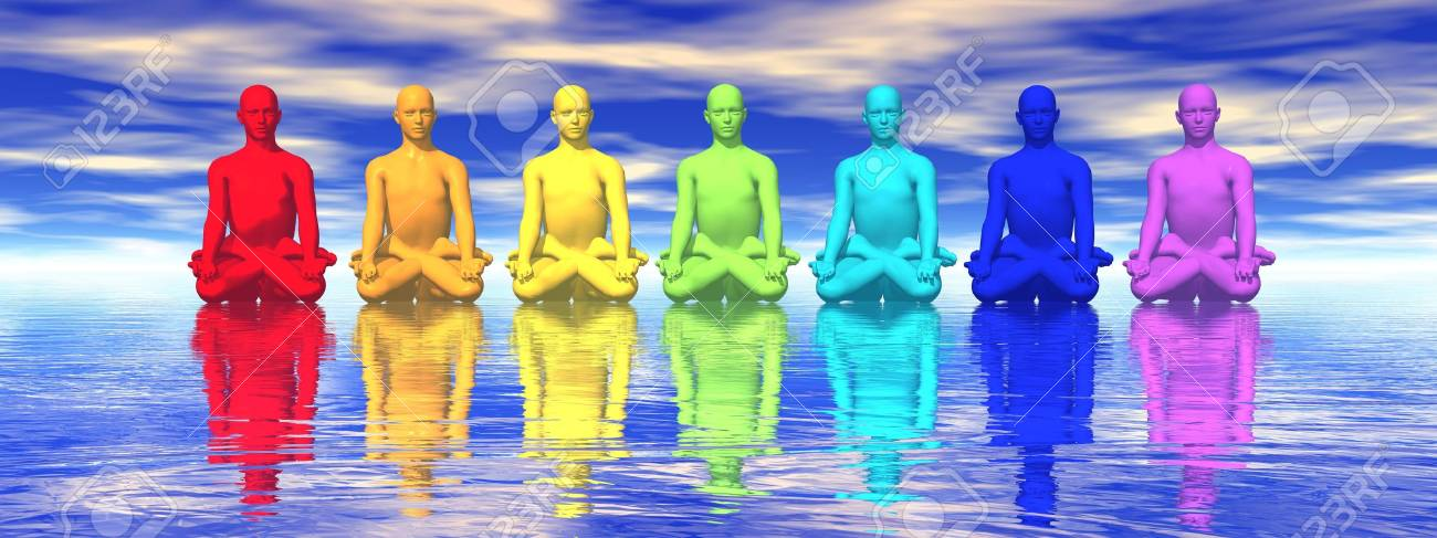 Seven human with chakra colors meditating in blue background Stock Photo - 16032680