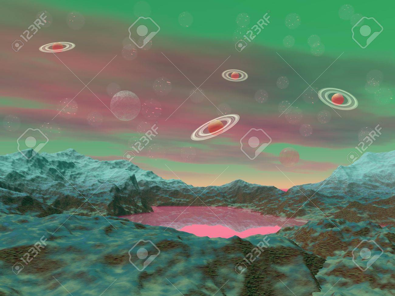 Pink and green landscape with small lake in rock mountains and saturn planets Stock Photo - 16250618
