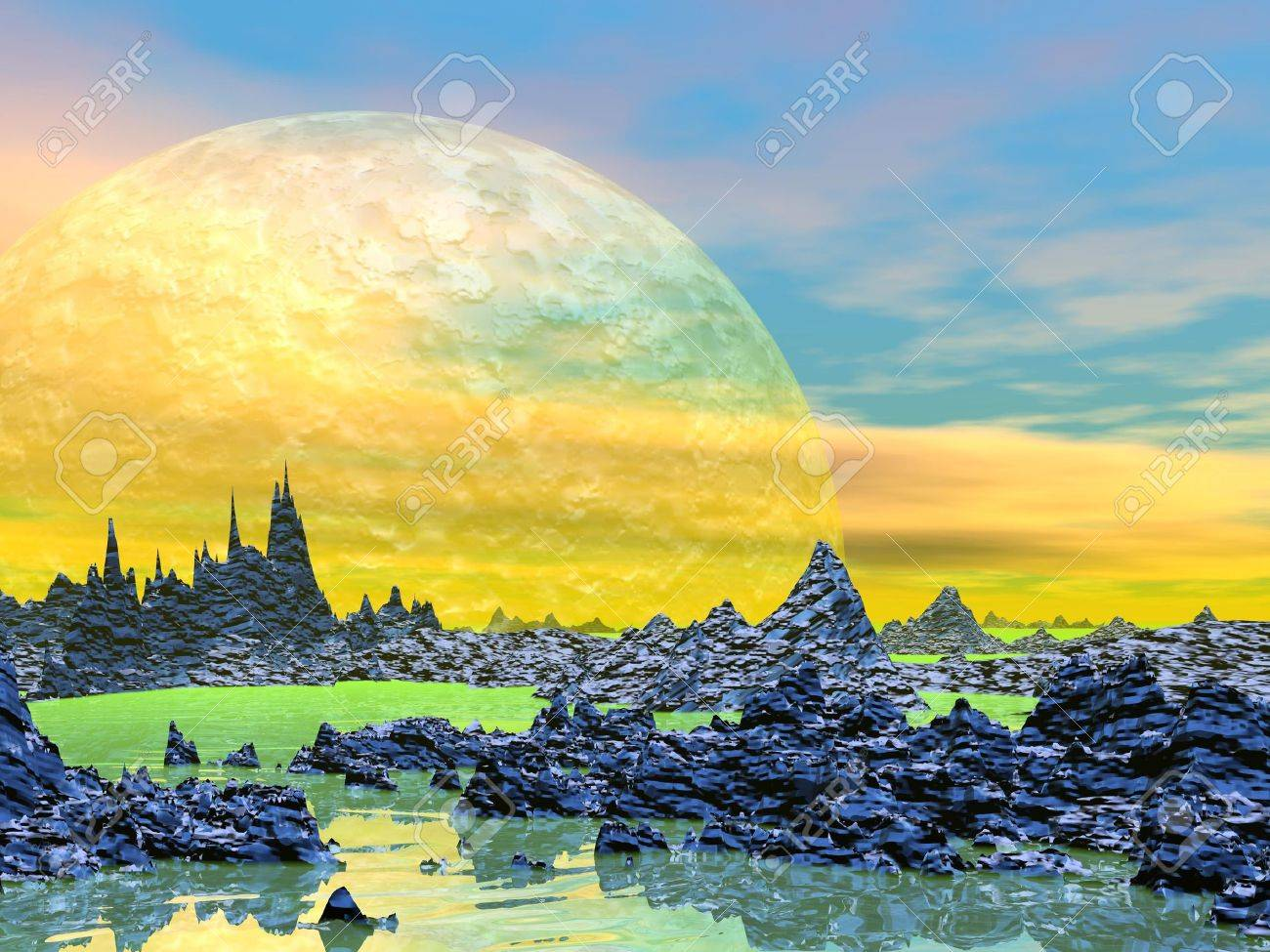Yellow landscape with rock mountains, water and planets Stock Photo - 16250633