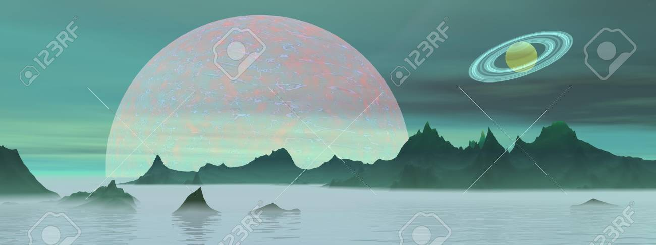 Green landscape with rocky mountains, fog and planets Stock Photo - 16250595