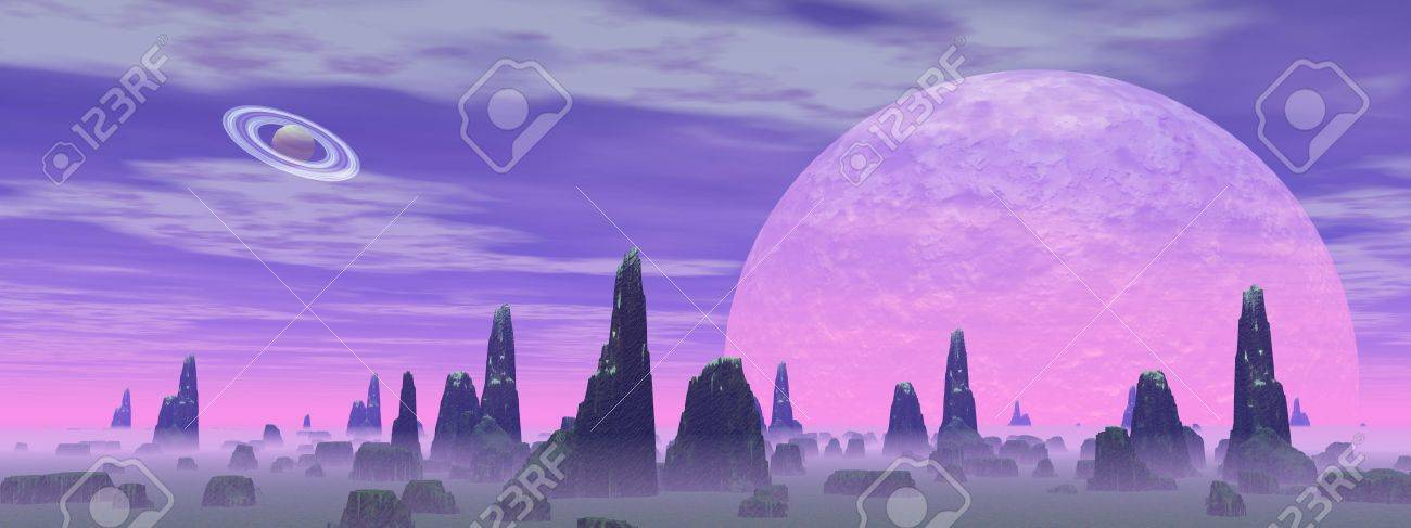 Violet landscape with rock mountains, fog and planets Stock Photo - 16250600
