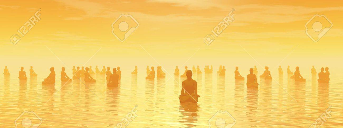 Many human beings meditating together by sunset Stock Photo - 16464668