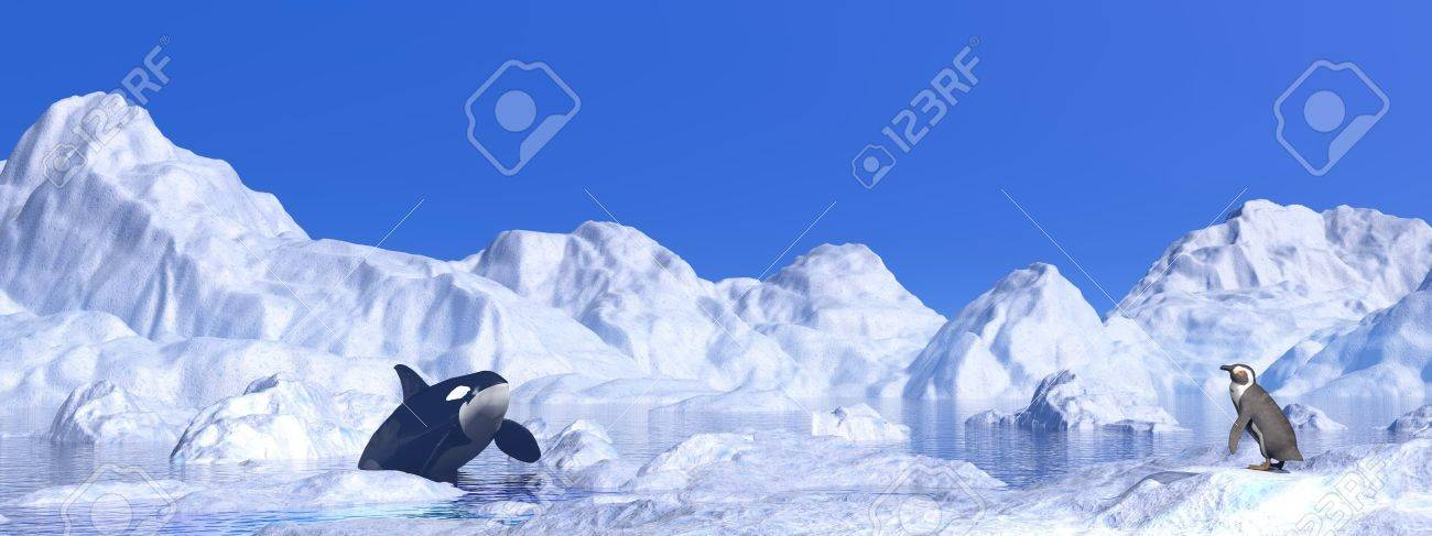 Penguin and orca meeting among icebergs by beautiful day Stock Photo - 16464715