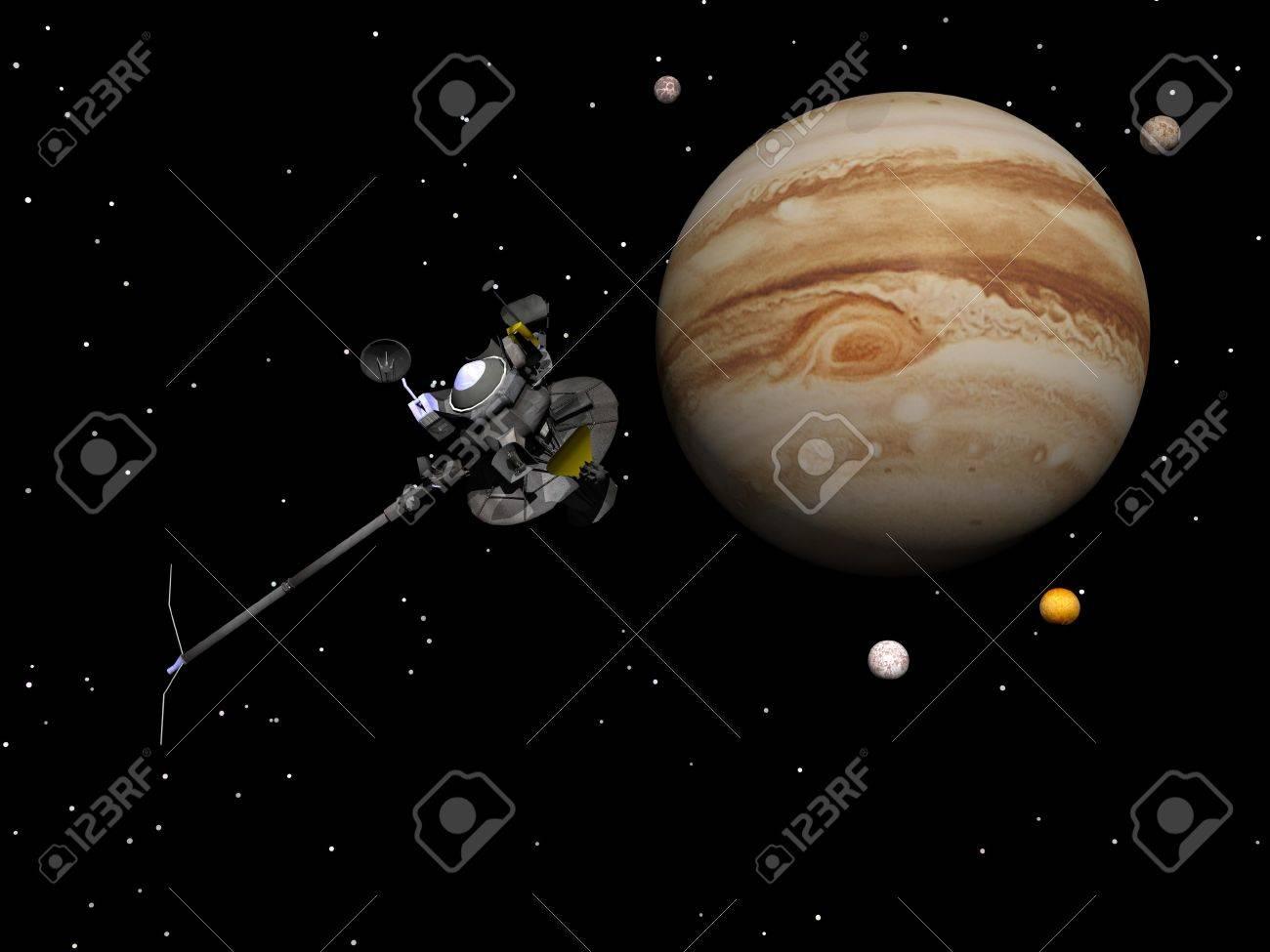 Voyager Nave Espacial Cerca De Jupiter Y Sus Cuatro Satelites