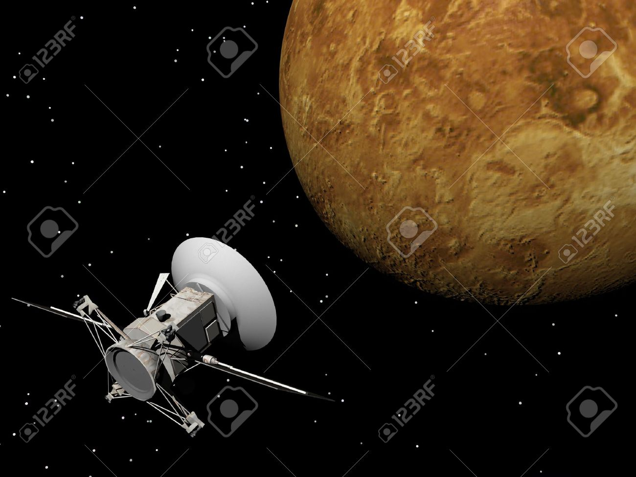 Magellan spacecraft near Venus planet by night Stock Photo - 16801247