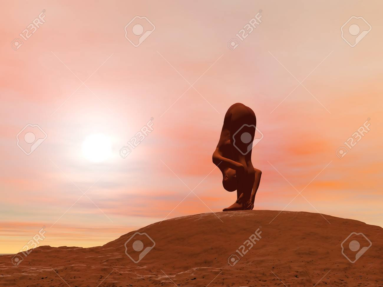 Young woman doing standing forward pose, Uttanasana, while practicing yoga outside in front of sunset Stock Photo - 17256667
