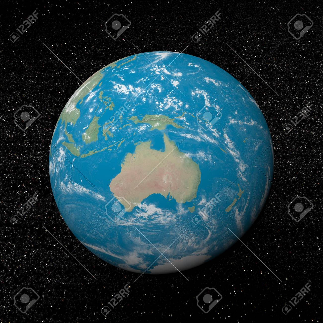 Oceania on earth and universe background with stars - 3D render Stock Photo - 17431384