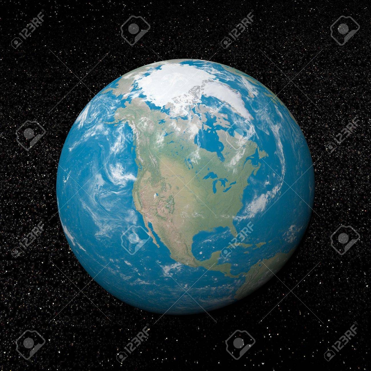 North america on earth and universe background with stars - 3D render Stock Photo - 17431414