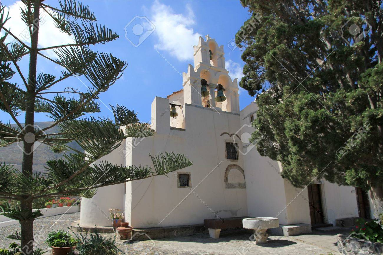 Bell tower in the back of byzantine  historical church of Panagia Episkopi by beautiful weather, Gonia, Santorini, Greece Stock Photo - 17431374