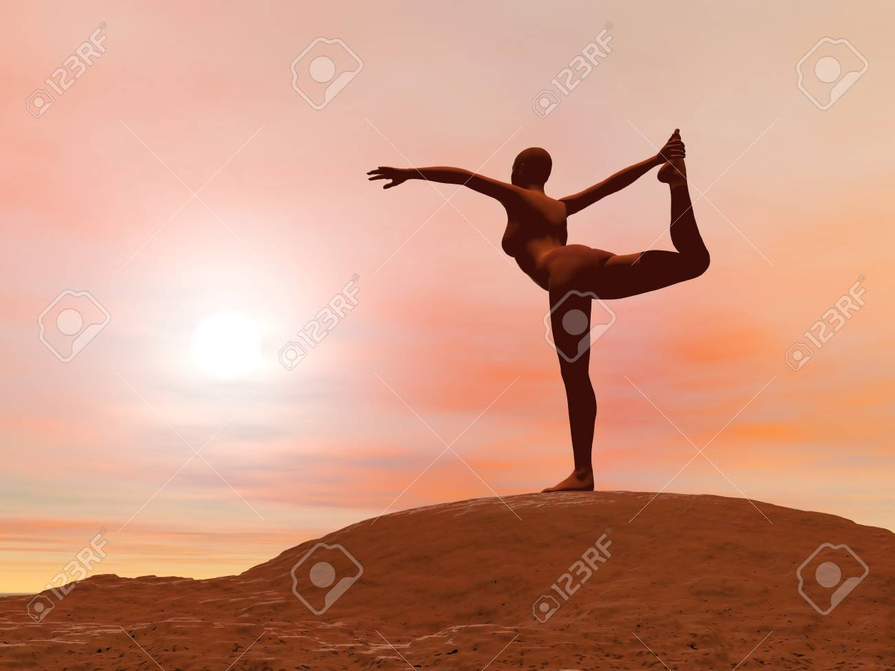 Young woman doing dancer pose, natarajasana while practicing yoga outside in front of sunset Stock Photo - 17431350