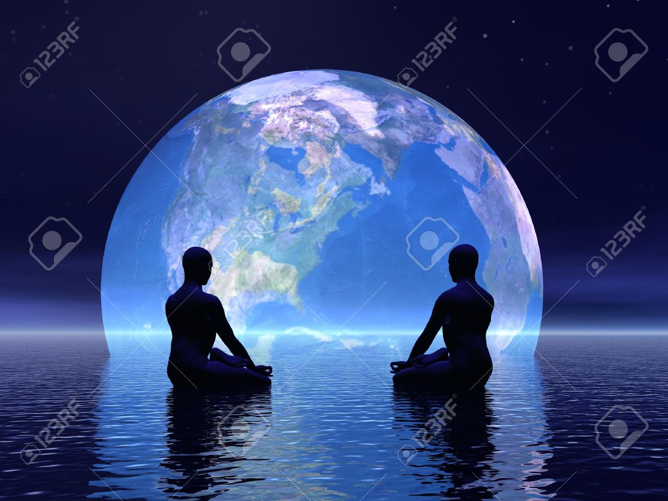 Two human silouhettes meditating in front of the earth by night Stock Photo - 17629018