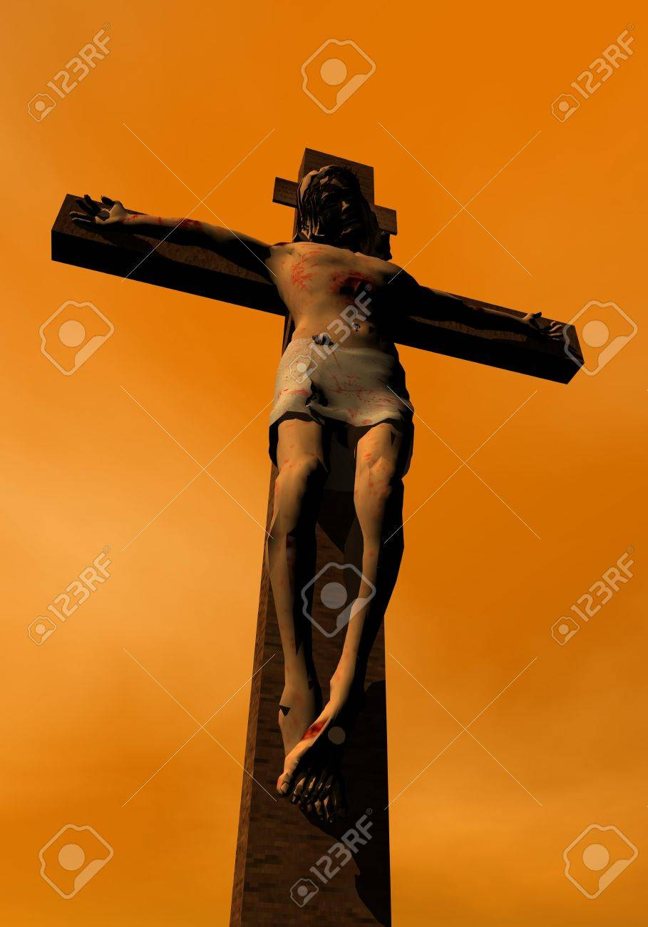 shadow of jesus christ on the cross by sunset colorful background