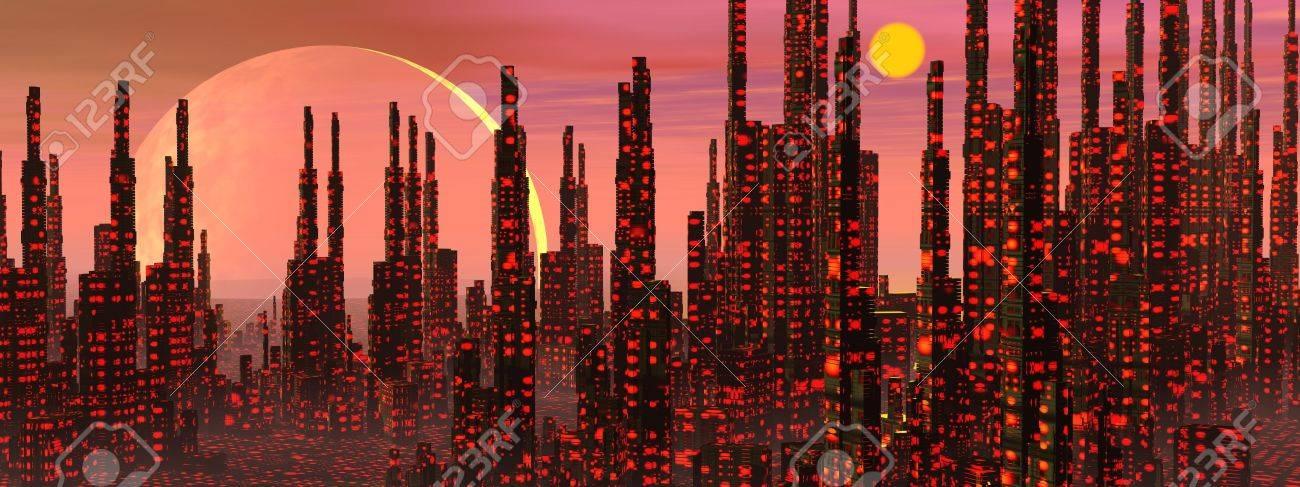 Futuristic buildings in a fantasy city and strange planets Stock Photo - 17902918