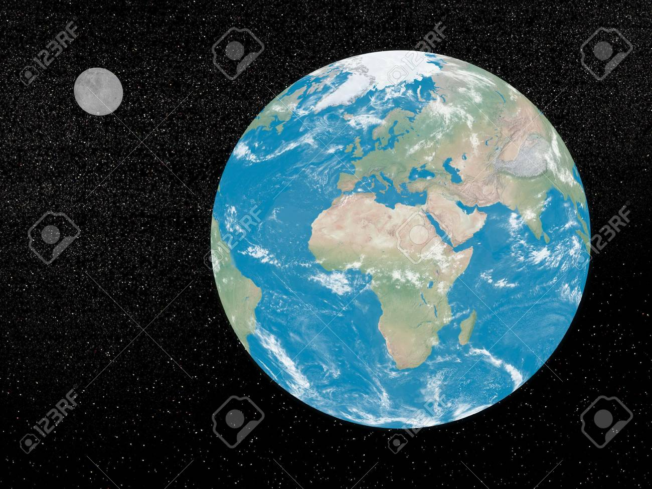Earth and moon in the universe Stock Photo - 18303393
