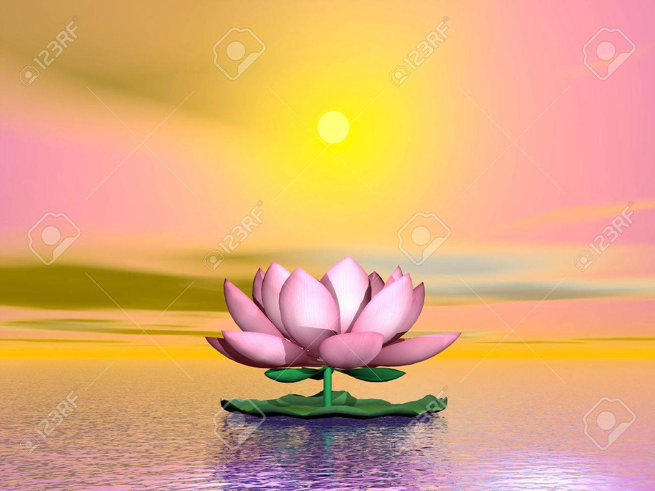 Beautiful pink lotus flower on the water by orange sunset stock beautiful pink lotus flower on the water by orange sunset stock photo 19756200 izmirmasajfo