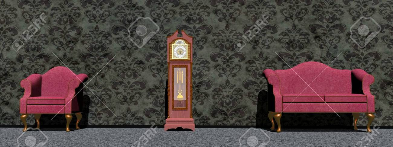 Stock Photo   Vintage Purple Chair And Sofa Around An Old Big Clock In  Front Of Dark Wallpaper