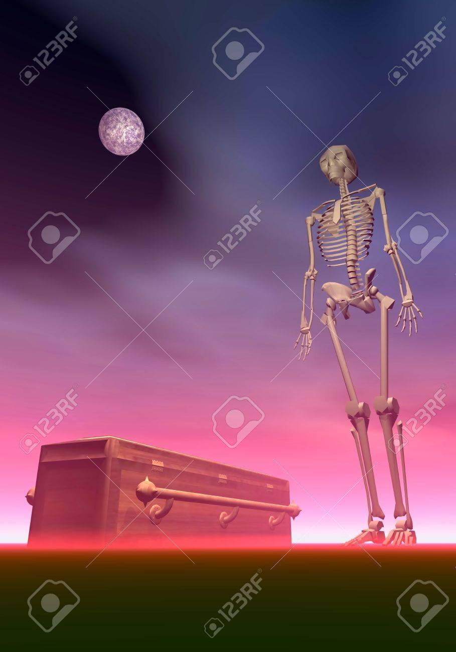 Esqueleto Blanco Al Lado De Un Ataúd De Noche De Color Rojo Oscuro ...