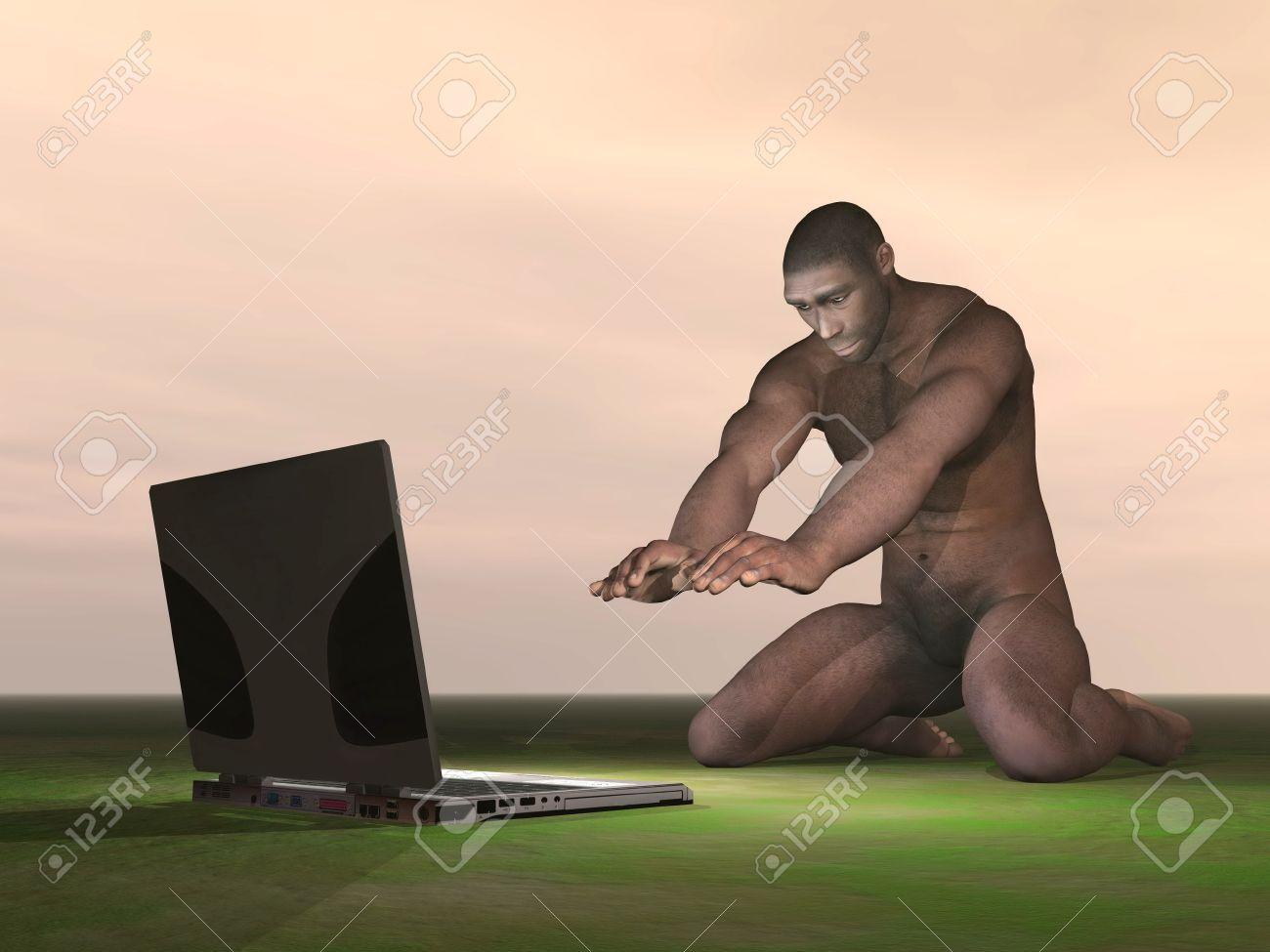 Homo Erectus man wondering what is a computer Stock Photo - 21220197