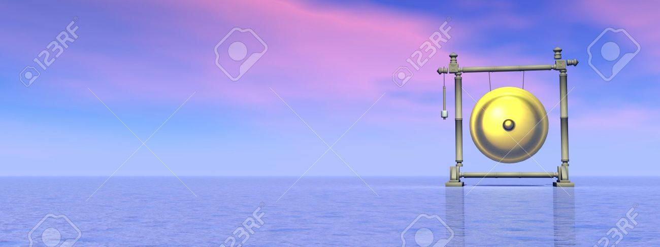 Gold gong standing alone in the nature by pink and blue sunset background Stock Photo - 21220207
