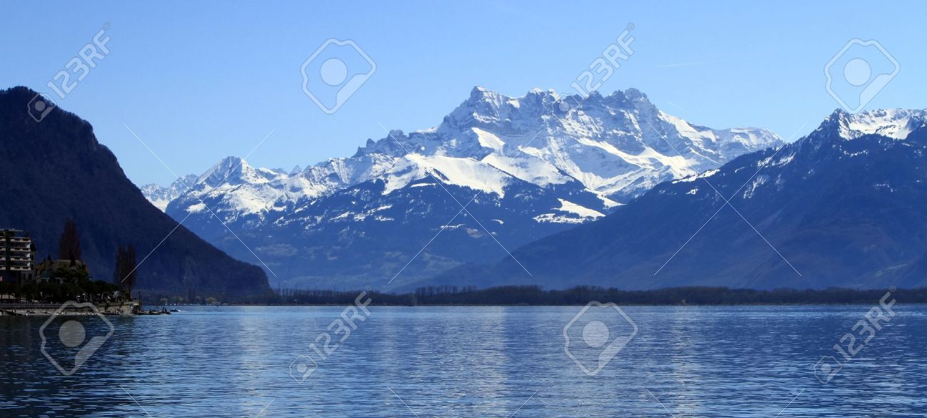 View on Aravis mountains from Geneva lake, Montreux, Switzerland