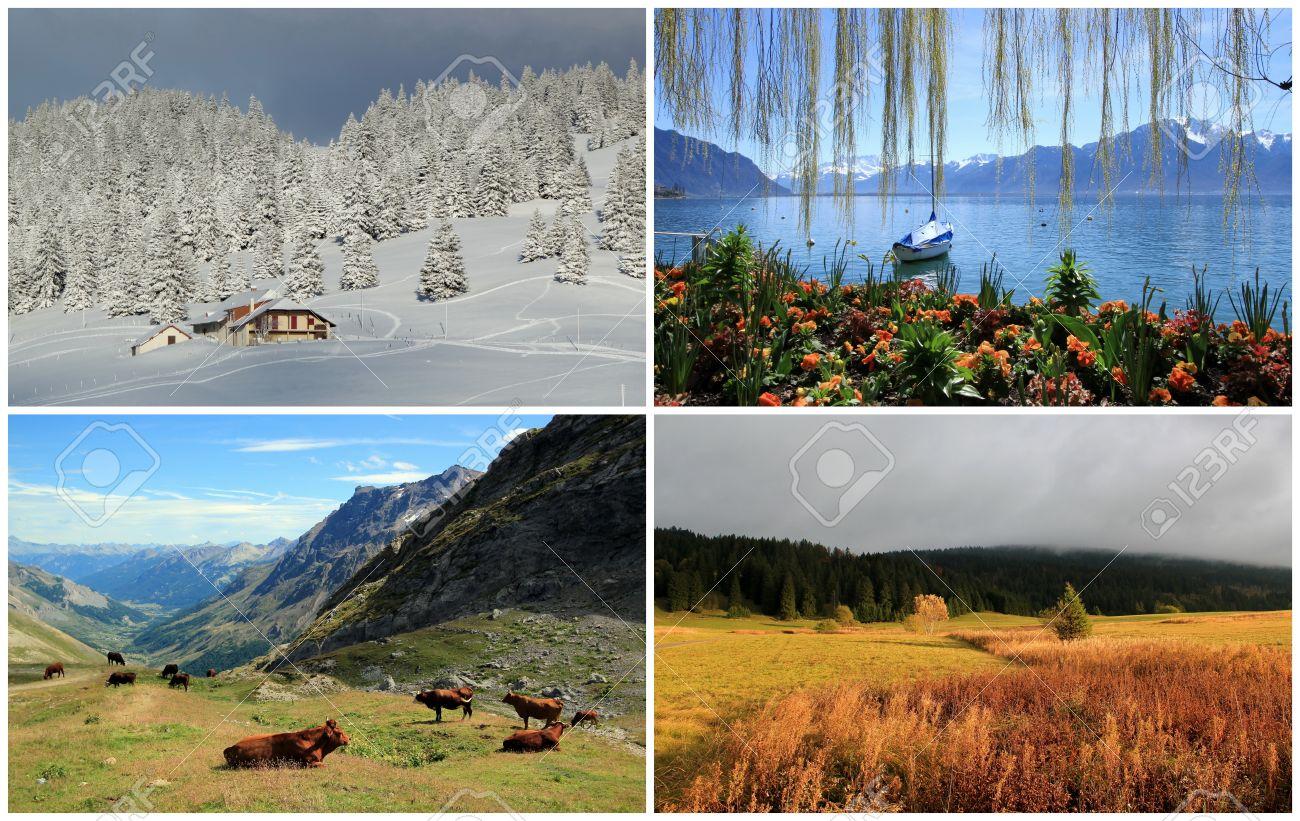 Four seasons landscape collage spring, summer, autumn, winter Stock Photo -  21943684 - Four Seasons Landscape Collage Spring, Summer, Autumn, Winter Stock