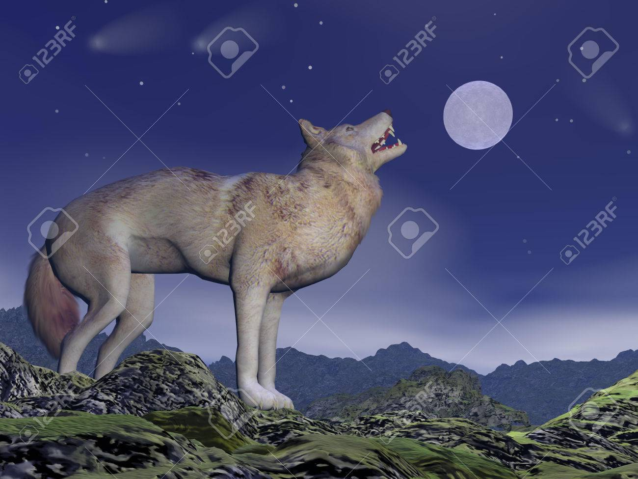one wolf howling at full moon by deep blue night upon the