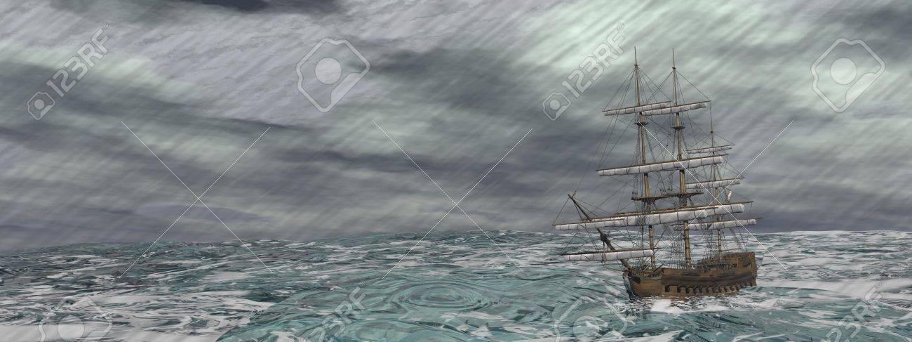 ♕ SPIRIT BRINGERS: EMPYREAN REALM. (SAGA DE UNUKALHAI) - Página 3 25193235-Old-ship-lost-in-the-middle-of-a-raining-storm-on-ocean-Stock-Photo