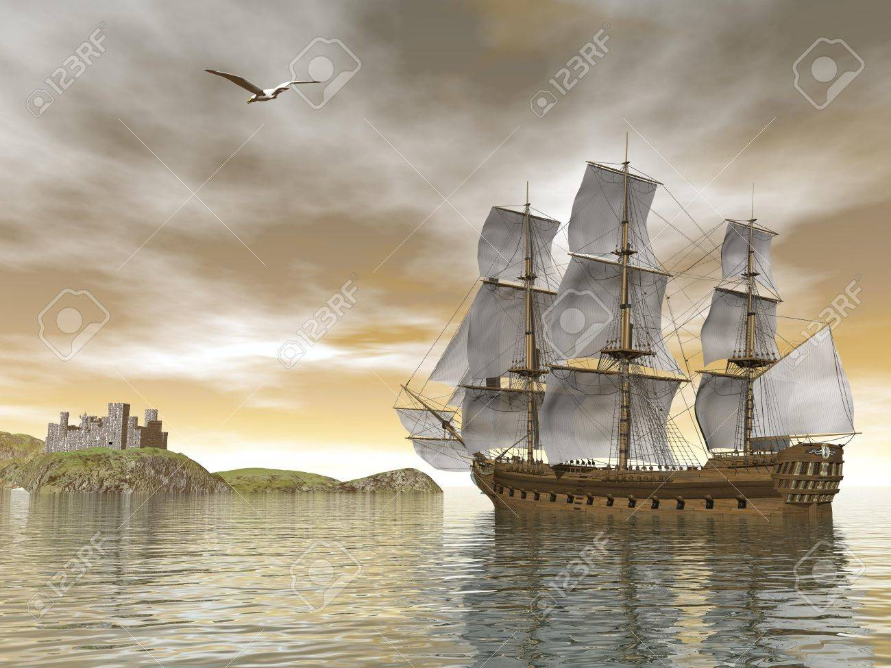 Beautiful detailed old merchant ship going back to castle and seagull flying around by cloudy sunset Stock Photo - 25247195